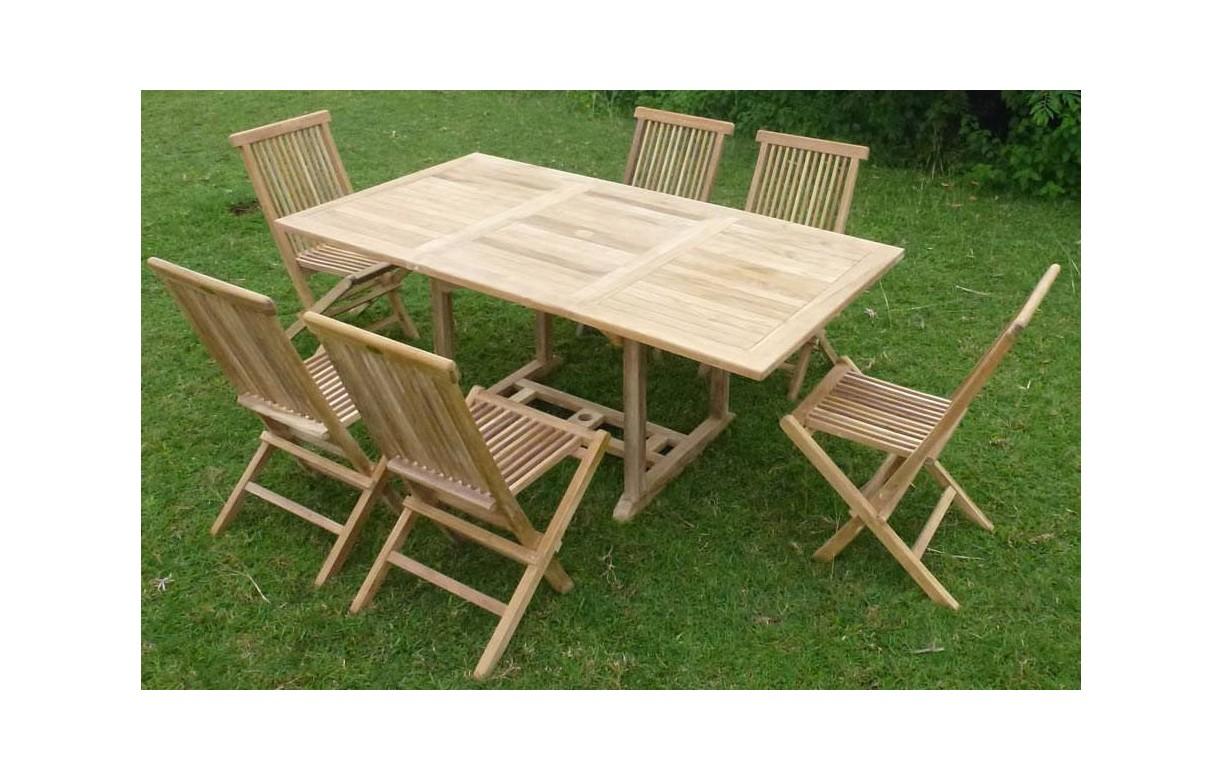 Table De Jardin Avec Chaise Table De Jardin En Bois Avec Rallonge En Teck Massif 6 Places