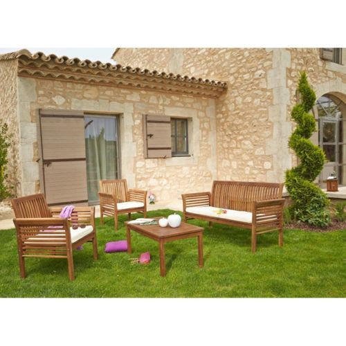 CARREFOUR Salon de jardin HanoÏ 1 table basse 1 sofa