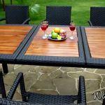 Table De Jardin En Résine Salon De Jardin En Teck Et Résine Tressée Modèle Flores