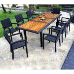 Table De Jardin Resine Mobilier De Jardin En Teck Et Resine Tressee Ensemble De