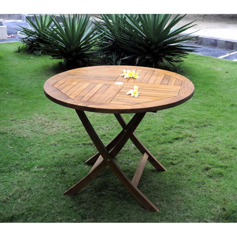 Table De Jardin Teck Table De Jardin Pliante En Teck Huilé Diametre 100 Cm