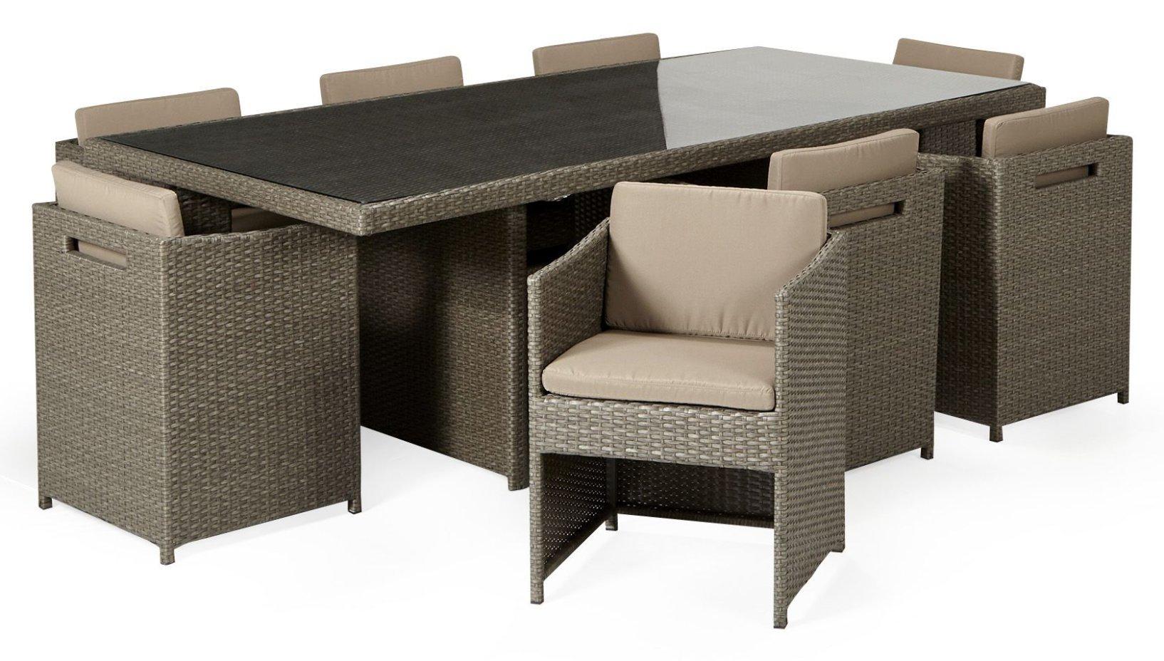 Ensemble de table de jardin avec 8 fauteuils Yvoire