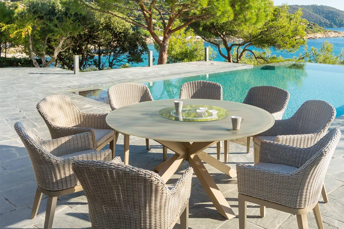 Salon jardin table ronde salon en resine
