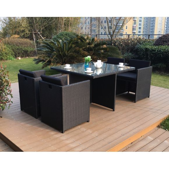 Table Exterieur 4 Personnes Concept Usine Miami 4 Noir Noir Ensemble 4 Personnes