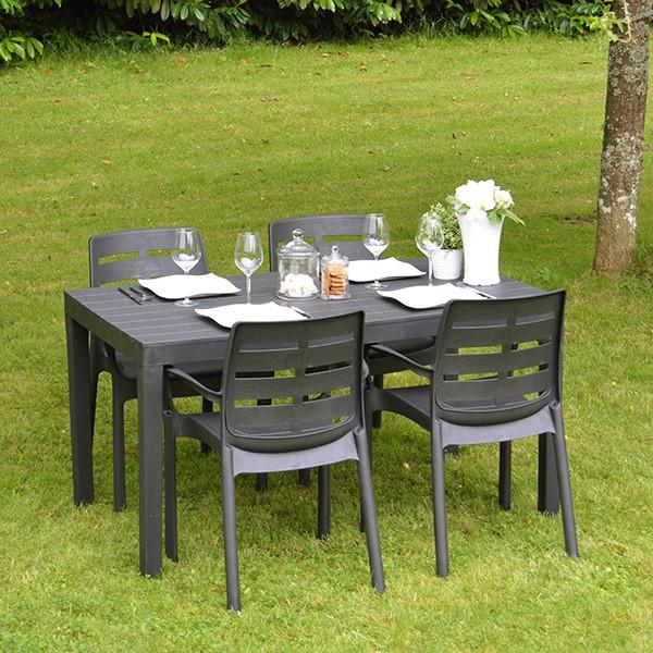 Salon de jardin en PVC table 4 fauteuils Bornéo gris