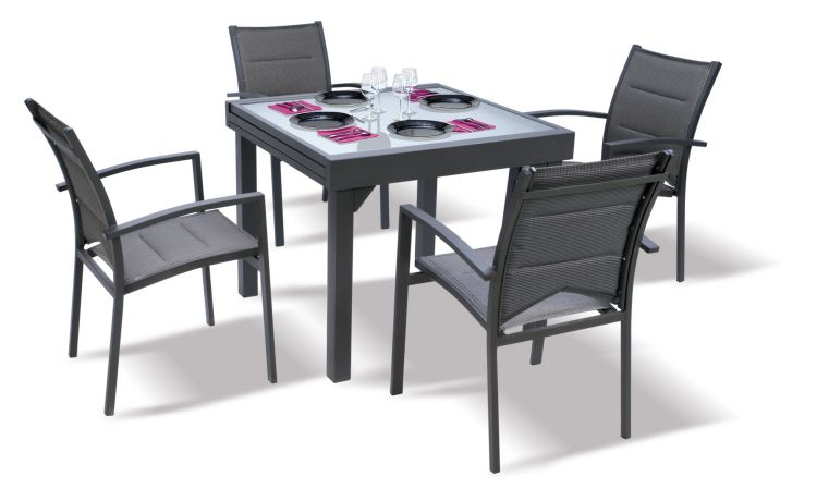 Table de jardin carrée extensible grise anthracite 4 à 8