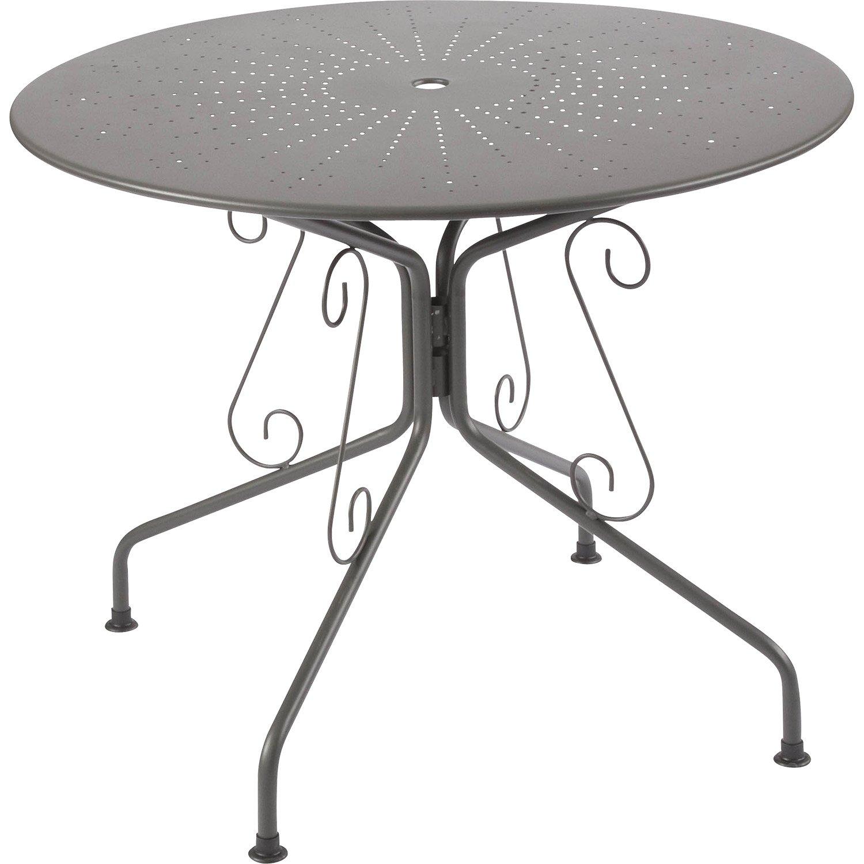 Table de jardin Romantique ronde gris graphithe 4
