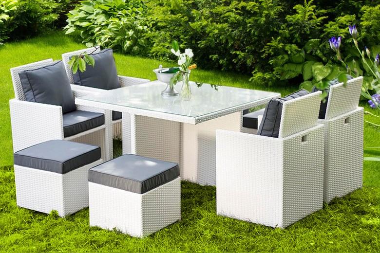 Table repas 8 places avec fauteuils encastrables rsine