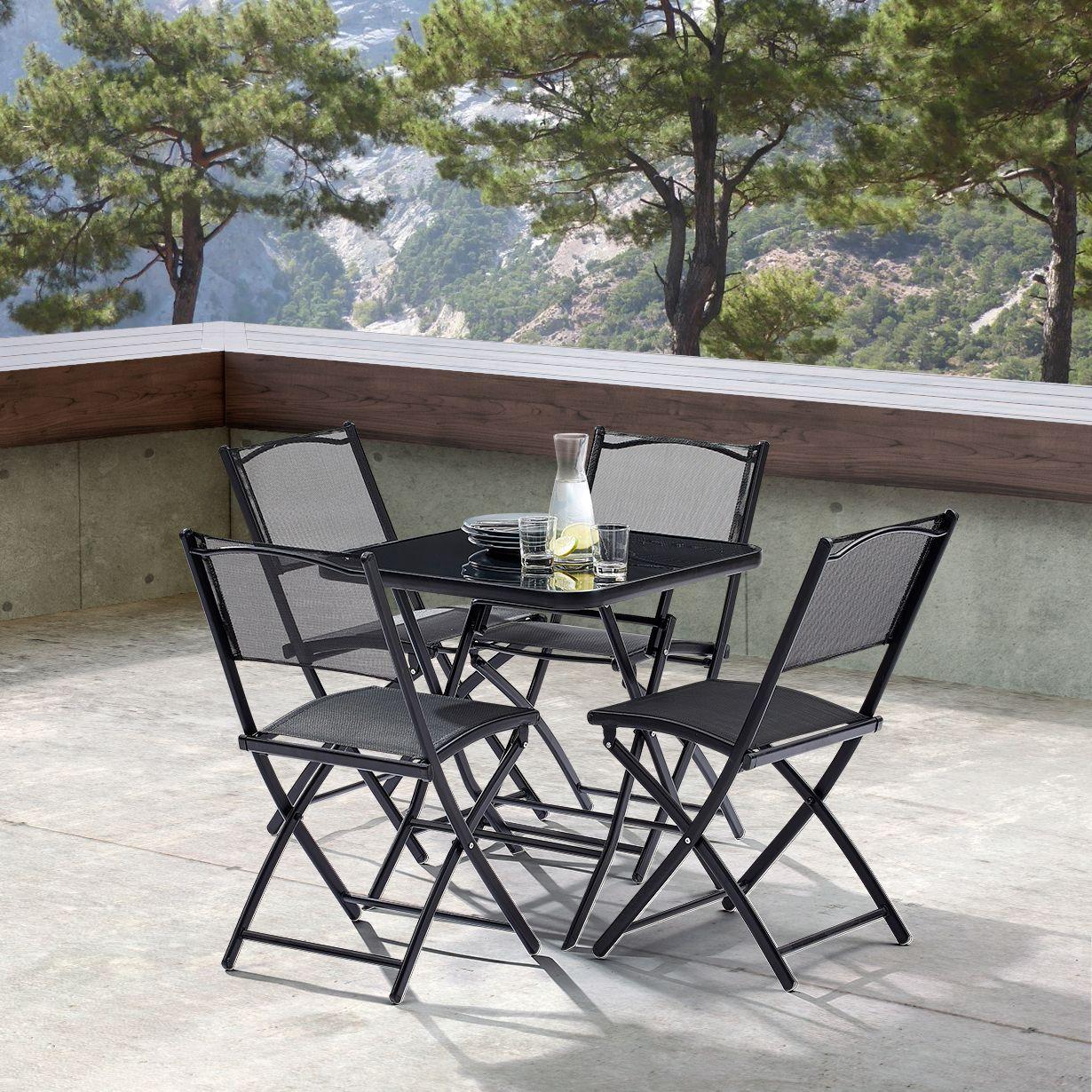 Table terasse 4 personnes avec chaises pliantes aciro