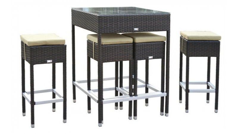 Ensemble de jardin 4 tabourets table haute Mesa