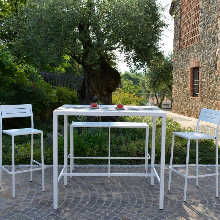 Ensemble de jardin haut avec Banc Dorio Blanc RD ITALIA