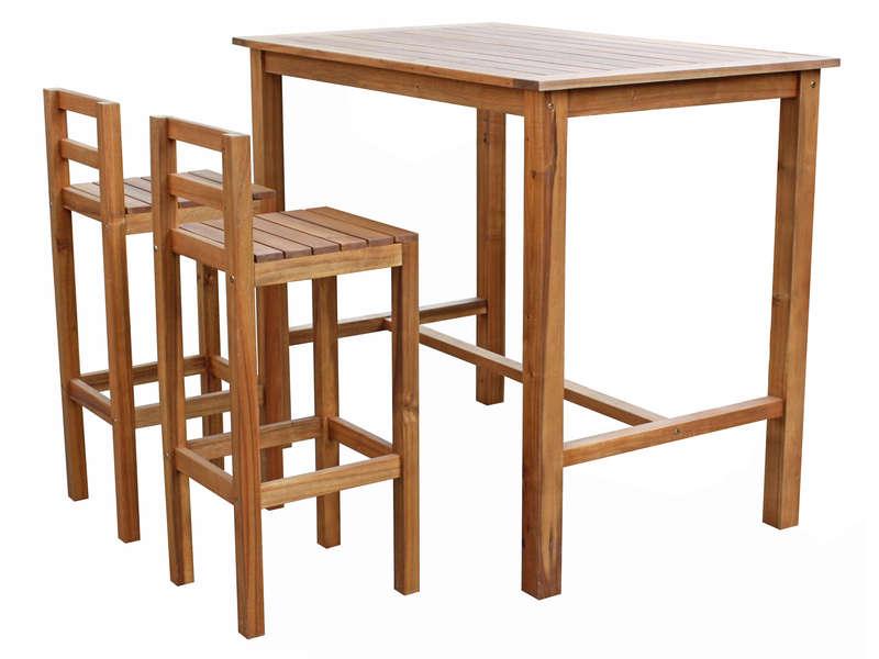 Ensemble table haute 2 chaises de jardin en acacia