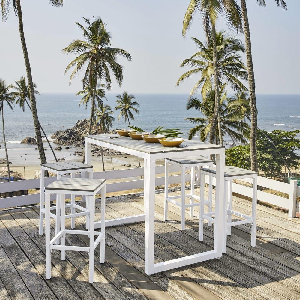 Table de jardin haute avec 4 tabourets en aluminium L128