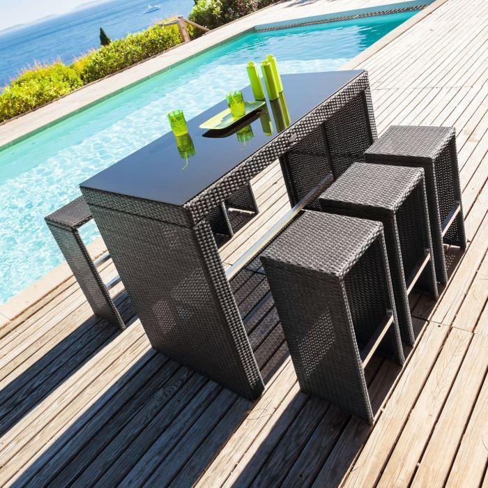 Table haute 6 tabourets TINOS RATAN Achat Vente