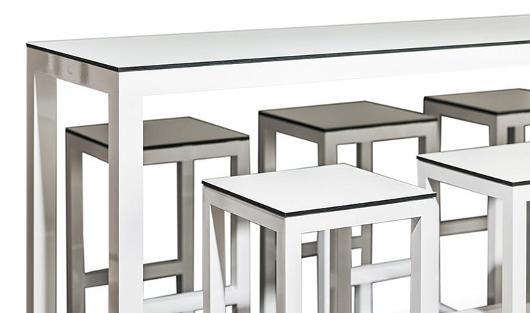 Table haute de jardin design blanc bar Leuven