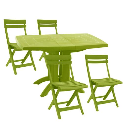 table de jardin verte pas cher