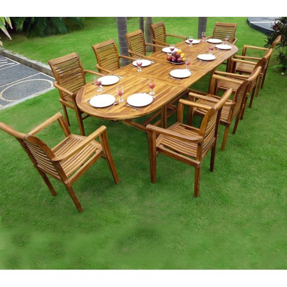 Wood En Stock Salon de Jardin en Teck Table 3 mètres 10