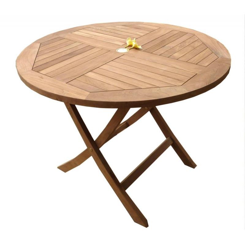 Table de jardin plainte en teck brut table ronde en teck