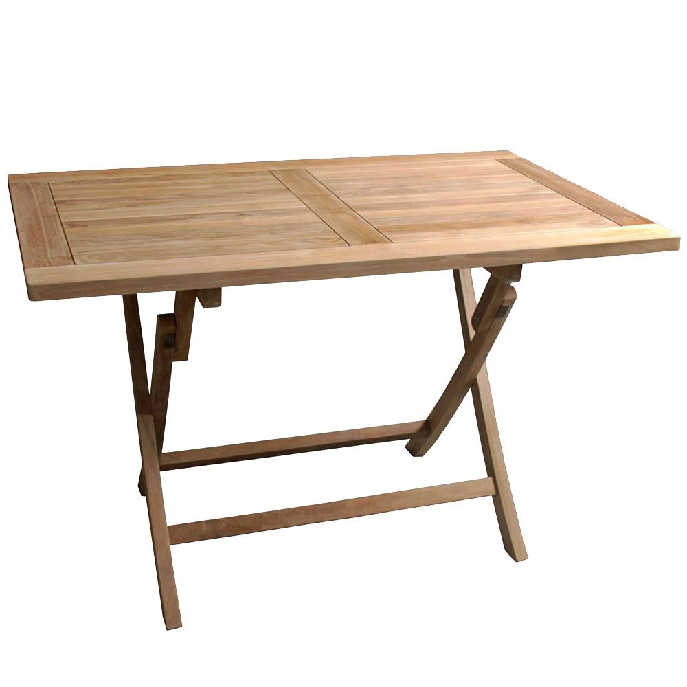 Table teck exterieur pliante rectangulaire 120cm