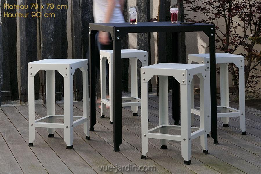 Table Jardin Grise Table De Jardin Carre En Acier Galvanis Hegoa 79x79cm De