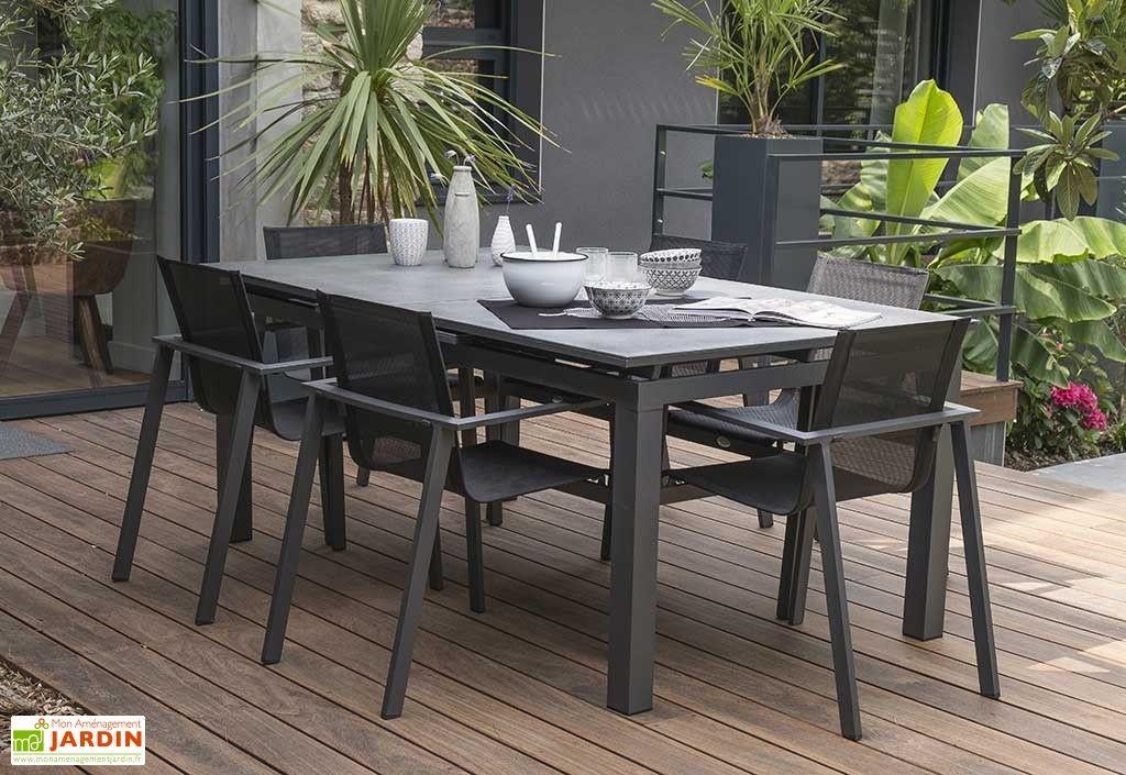 Table de Jardin avec Rallonge Miami Aluminium et Verre 180