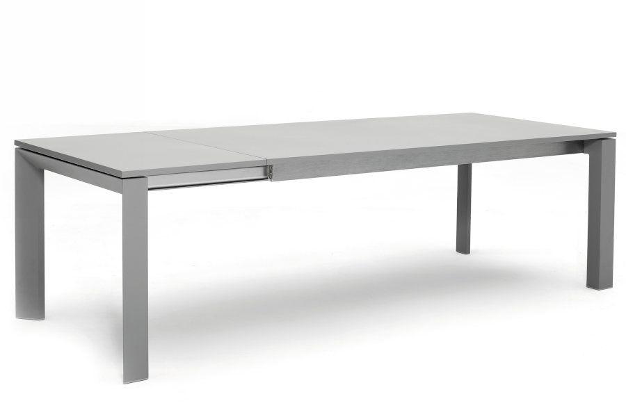Table de jardin en alu gris avec rallonge 200 260 cm