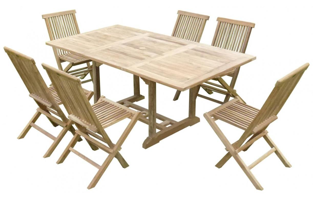 Table de jardin en bois avec rallonge en teck massif 6 places