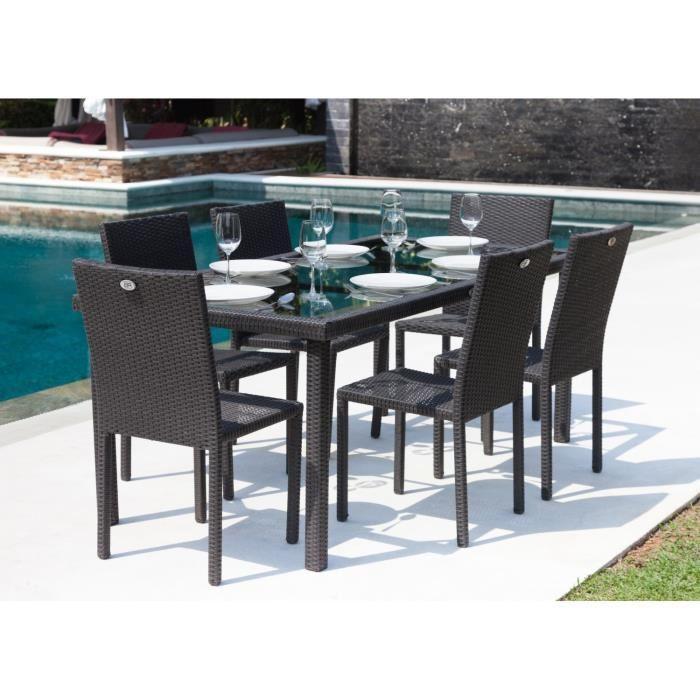 Ensemble table de jardin 180 cm et 6 chaises resine
