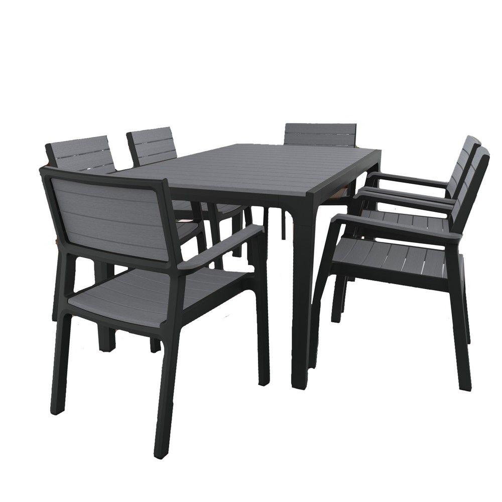 Salon de jardin résine Harmony table 6 fauteuils a