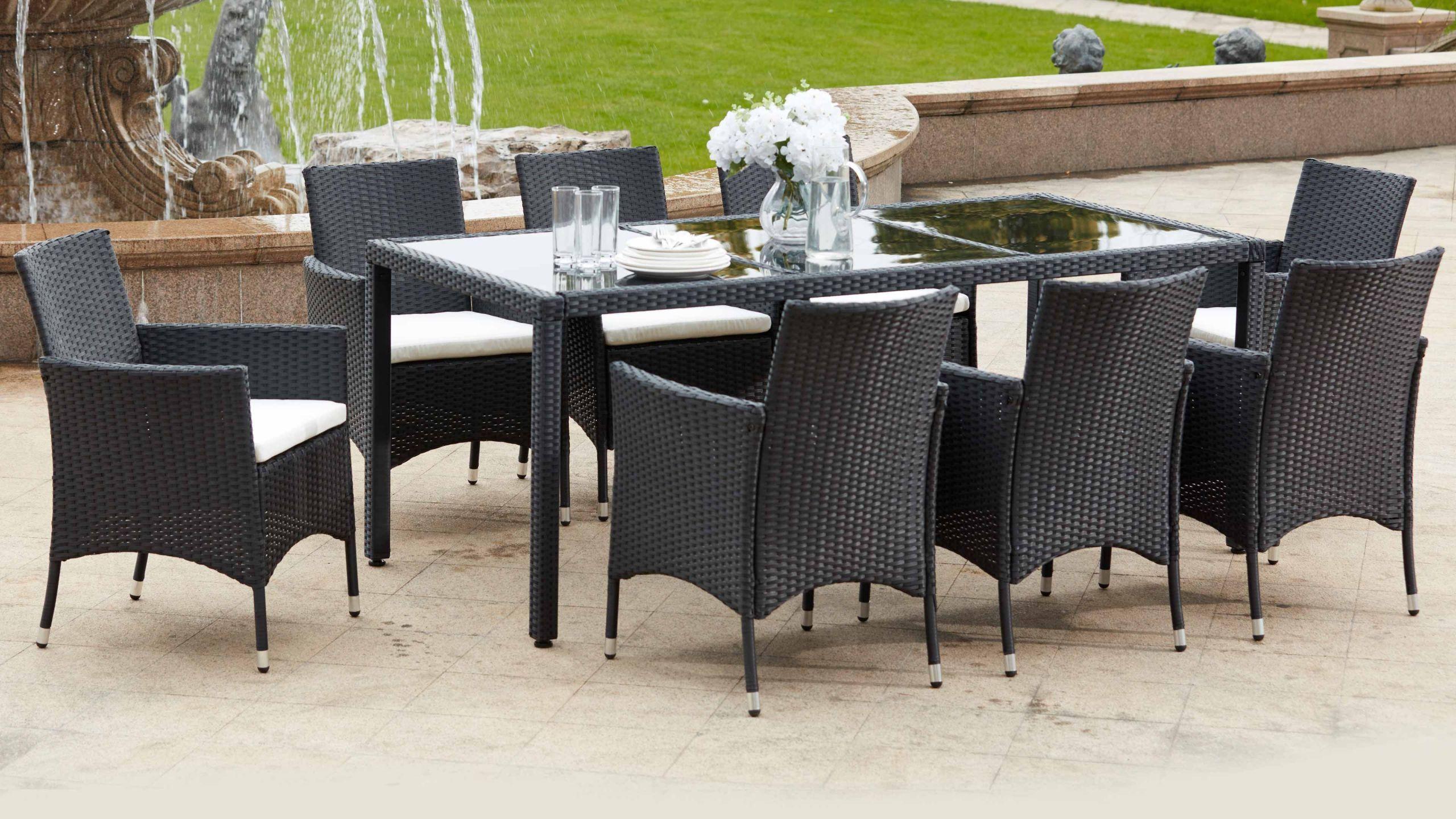 Salon de jardin table résine tressée 8 fauteuils