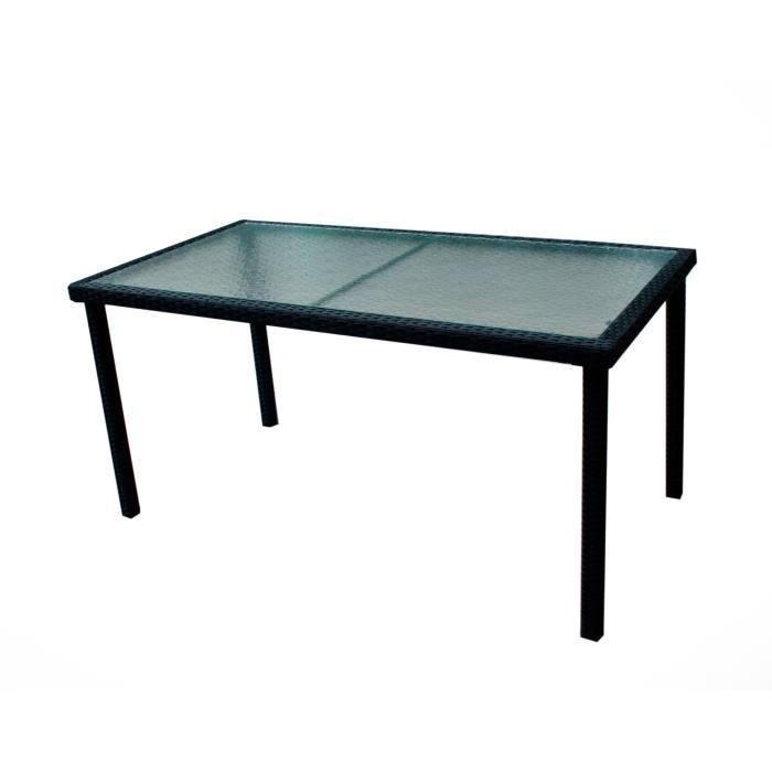 table de jardin en résine tressée et plateau verre 140 cm