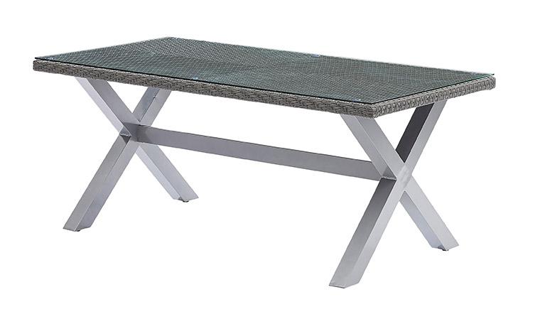 Table de jardin en rsine tresse grise 8 places