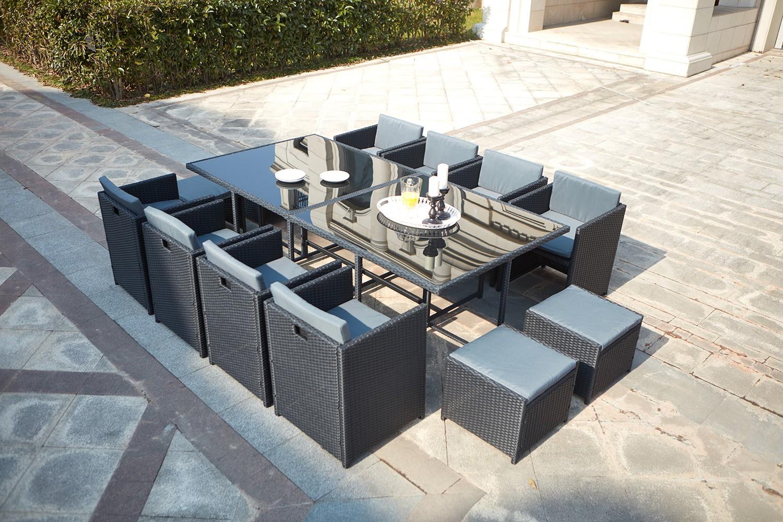 Table de jardin résine tressée encastrable noire 12 places