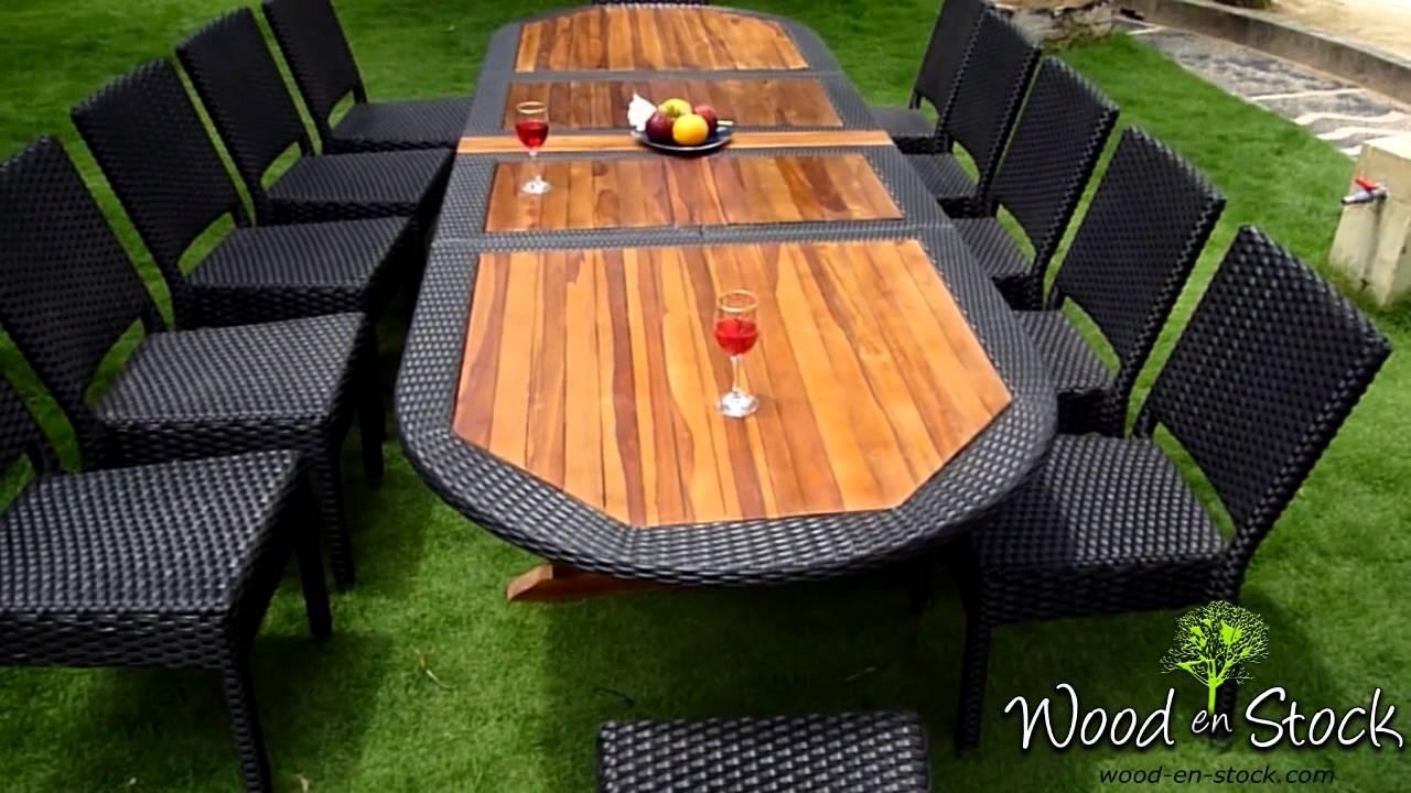 salon de jardin ensemble table teck résine et chaises