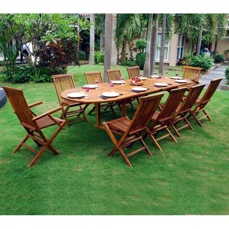 salon en teck meublez de jardin table 12 places