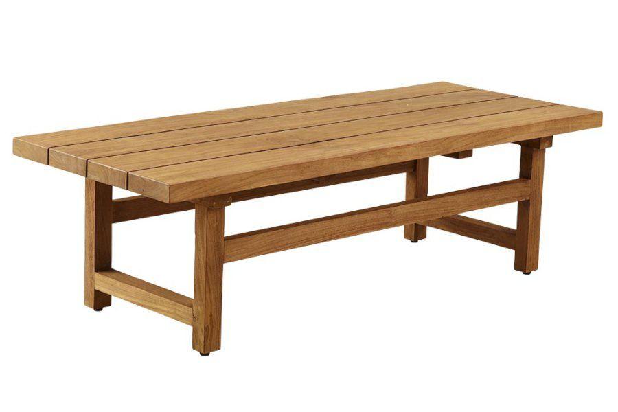 Table basse de jardin en teck massif ancien 140 cm