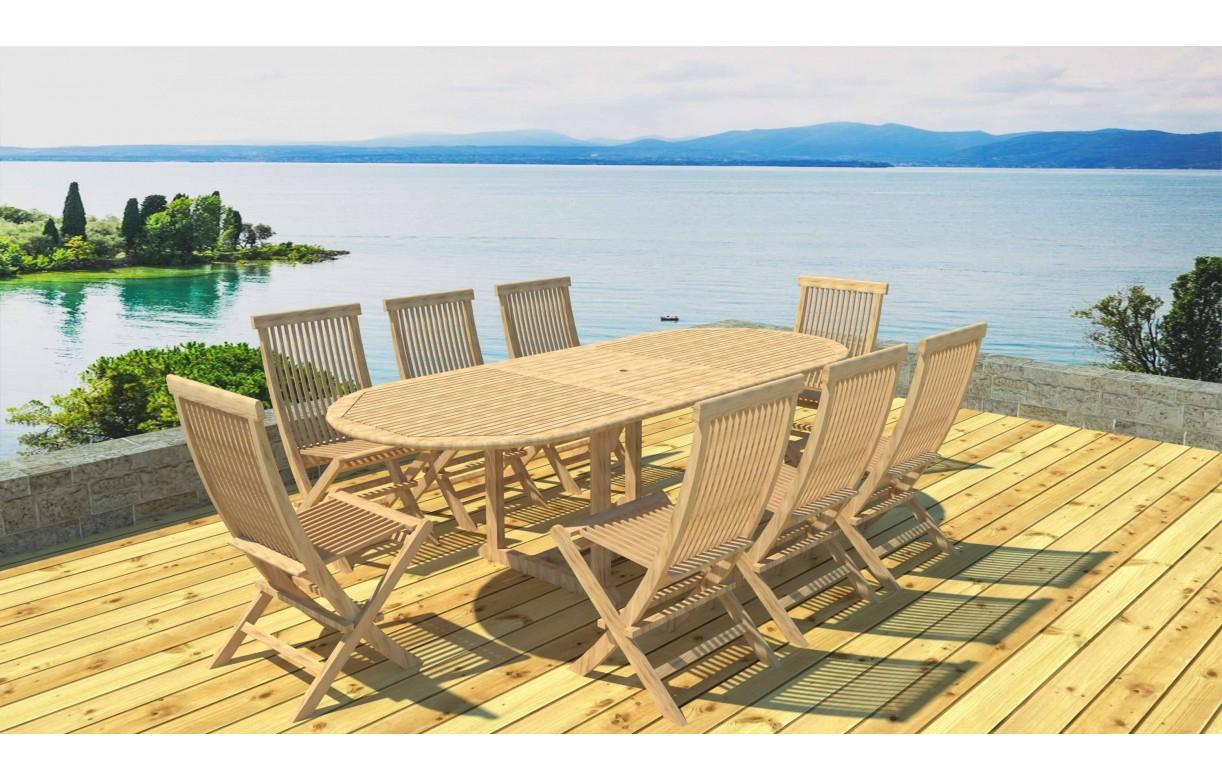 Table de jardin ovale avec rallonge en teck massif 8 chaises