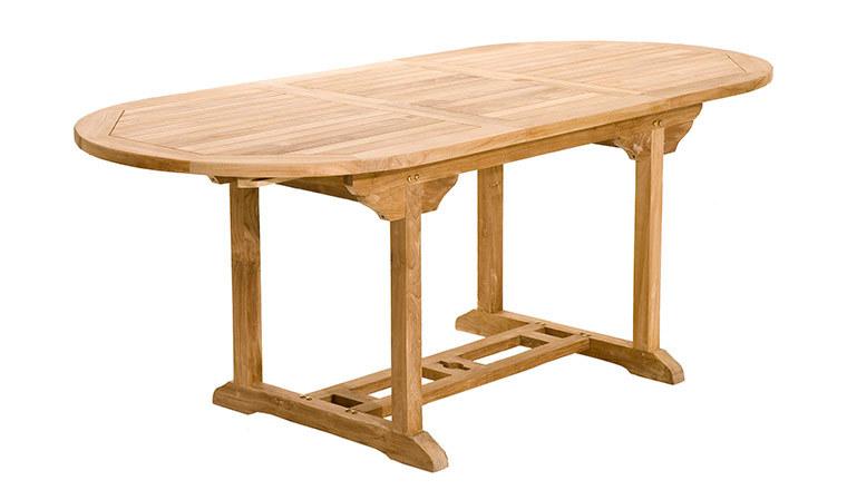 Table de jardin ovale en teck avec rallonge papillon 150