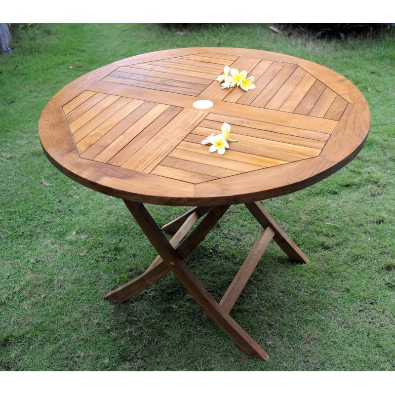 Table de jardin pliante en teck huilé diametre 100 cm