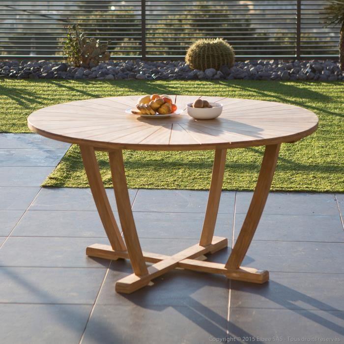 Table de jardin ronde en teck brut 140cm SANILLO Achat