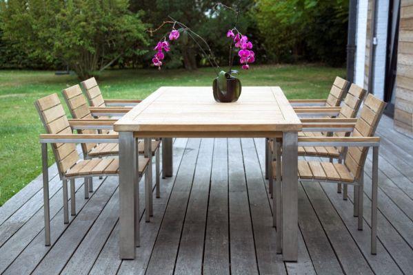 Table de jardin teck inox Bora Meubles de jardin