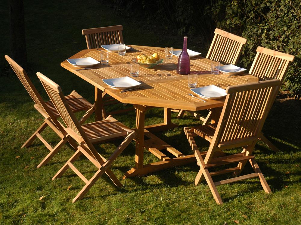 Table de jardin teck table ronde jardin