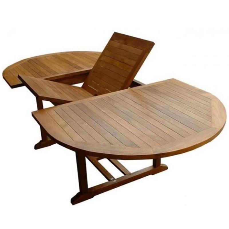 Table exterieur teck ovale 180cm extensible