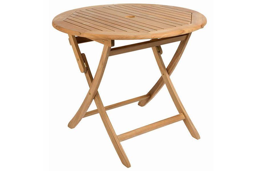 Table ronde 90 cm pliante en teck massif Ora