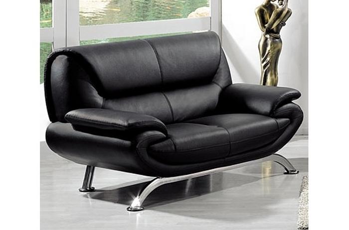 Canapé 2 places en cuir italien jonah noir Mobilier Privé