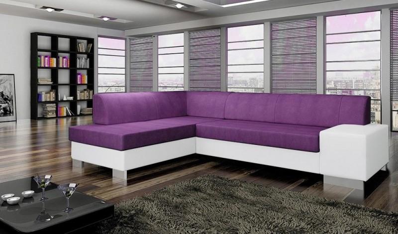 Canapé d angle convertible tissu et simili violet et blanc
