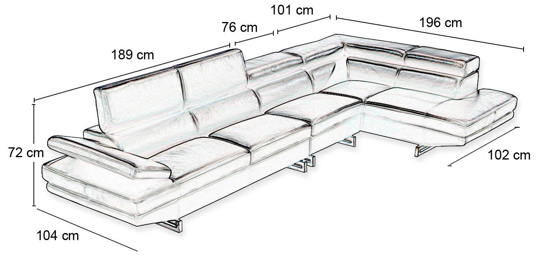 Canapé D angle droit en cuir Milano 4 places