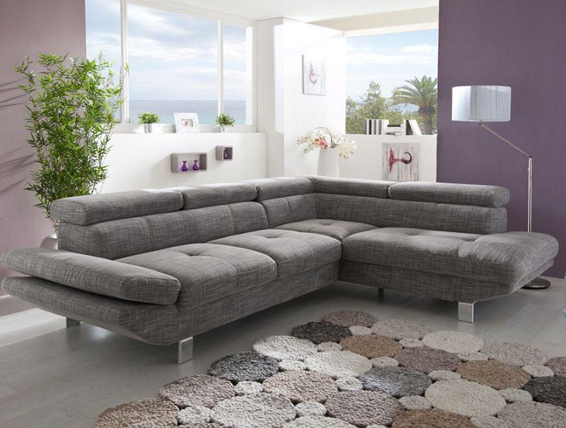 Canapé d angle gris chiné en tissu VINCENZIO