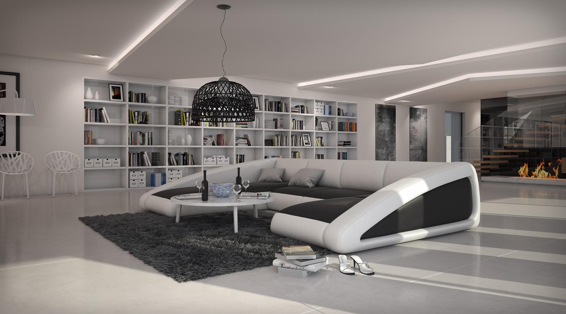 Canapé d angle moderne de grande taille BOAT U V2 2 195