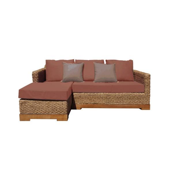 Canapé d angle tissu bio déhoussable tressé fibres naturelles